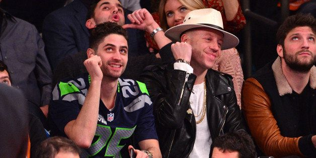 NEW YORK, NY - FEBRUARY 01:  Ryan Lewis and Macklemore attend the Miami Heat vs New York Knicks game at Madison Square Garden