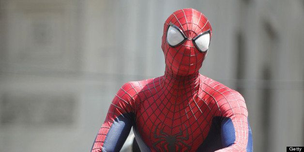 NEW YORK, NY - JUNE 22:  Andrew Garfield films a stunt filming , Marc Webb's, 'The Amazing Spiderman' on June 22, 2013 in New