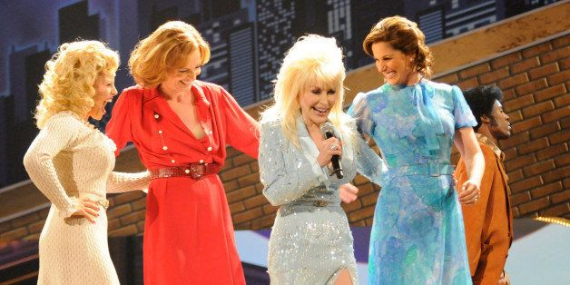 NEW YORK - JUNE 07:  Dolly Parton performs a song from '9 to 5: The Musical' on stage during the 63rd Annual Tony Awards at R