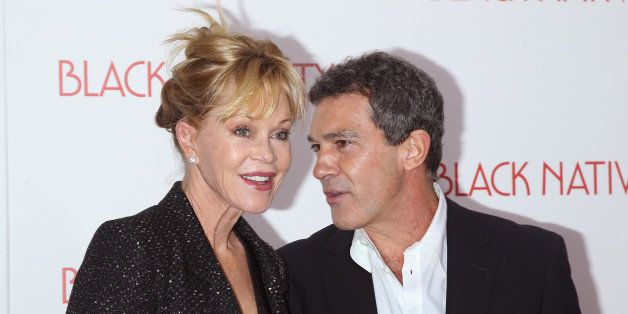 NEW YORK, NY - NOVEMBER 18:  Actors Melanie Griffith and Antonio Banderas attend the 'Black Nativity' premiere at The Apollo