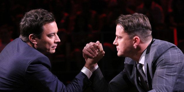 THE TONIGHT SHOW STARRING JIMMY FALLON -- Episode 0070 -- Pictured: (l-r) Jimmy Fallon and Channing Tatum arm wrestle on June