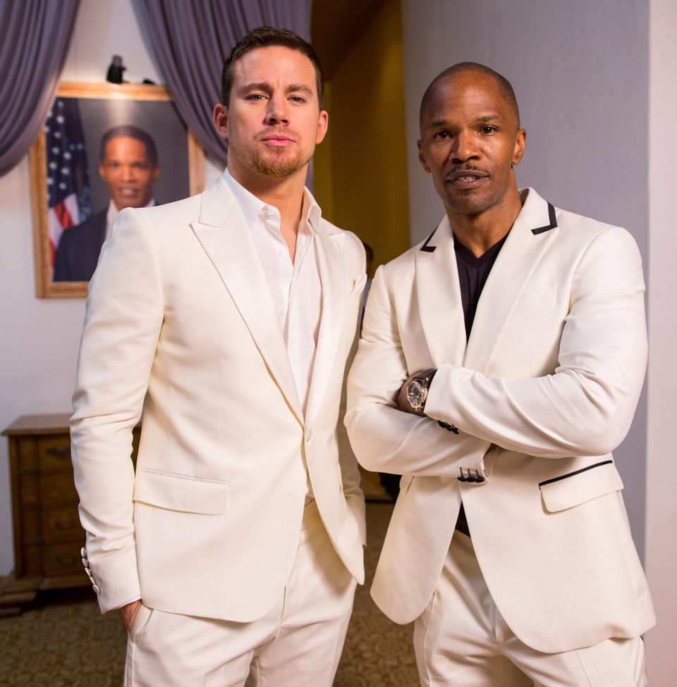 CANCUN, MEXICO - APRIL 19:  Actors Channing Tatum and Jamie Foxx attend the 'White House Down' photo call at the 5th Annual S