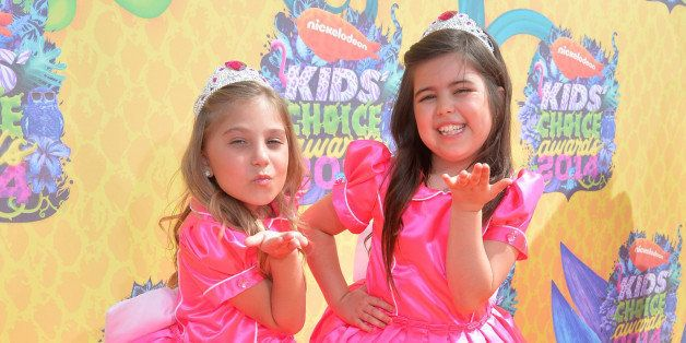 LOS ANGELES, CA - MARCH 29:  TV personalities Sophia Grace Brownlee (R) and Rosie Grace McClelland attend Nickelodeon's 27th