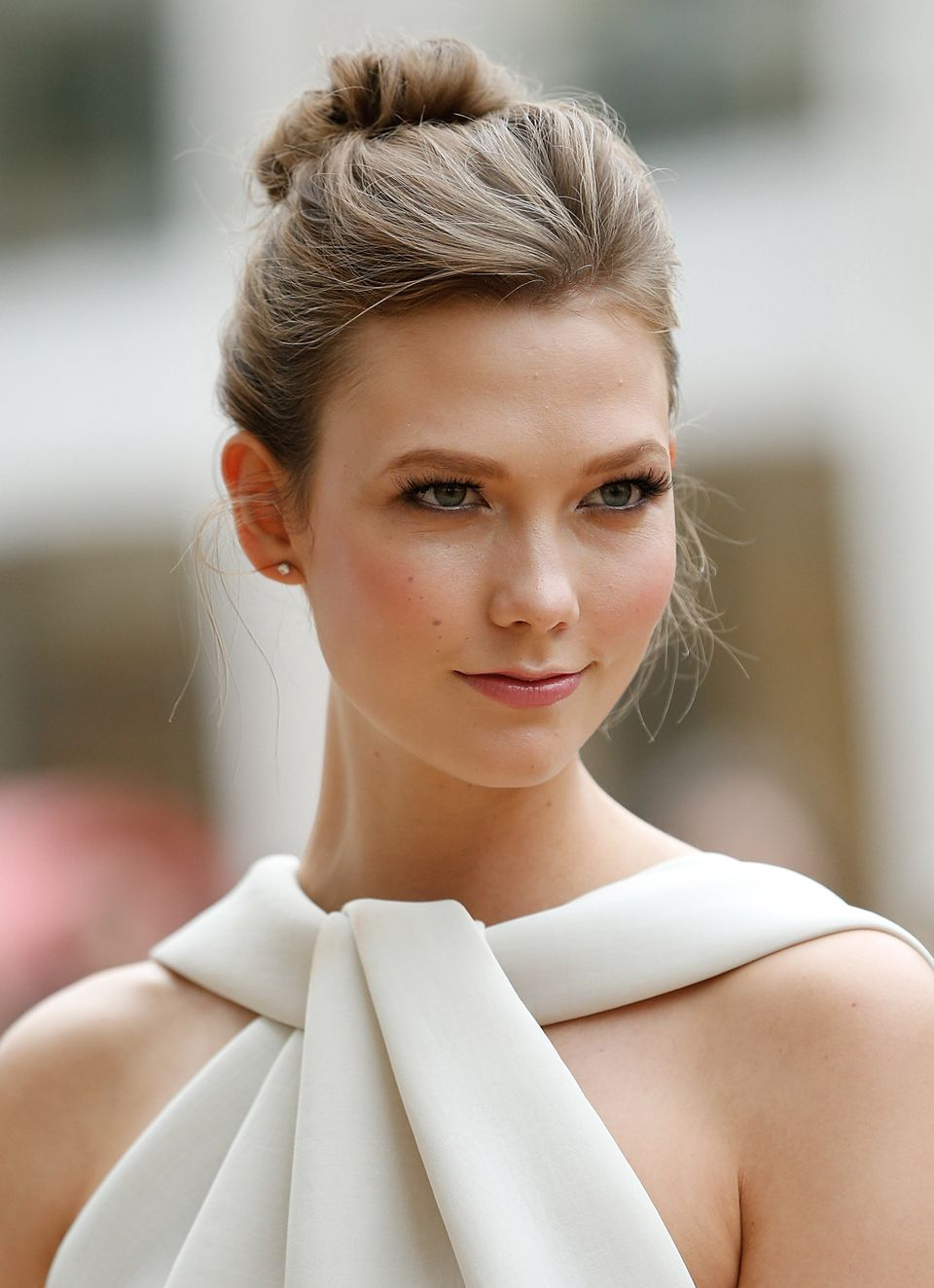 Karlie Kloss' not-too-perfect ballet bun is a perfectly elegant wedding style.