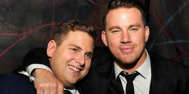 LOS ANGELES, CA - JUNE 10:  Producer/actors Jonah Hill (L) and Channing Tatum pose at the after party for the premiere of Col