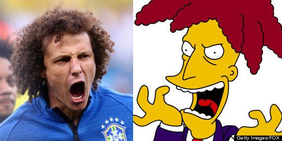 "David Luiz of Brazil and Sideshow Bob of ""The Simpsons."""
