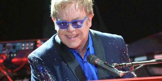 MANCHESTER, TN - JUNE 15:  Artist Sir Elton John performs during the 2014 Bonnaroo Music & Arts Festival on June 15, 2014 in
