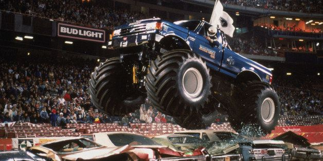 ANAHEIM - 1989:  Bigfoot flies over cars during the monster truck rally at Anaheim Stadium in 1989 in Anaheim, California.  P