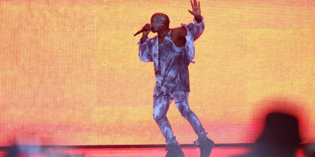LONDON, ENGLAND - JULY 04:  Kanye West performs on stage at Wireless Festival at Finsbury Park on July 4, 2014 in London, Uni