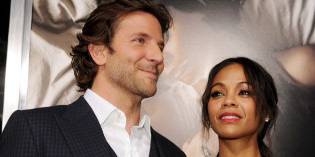 LOS ANGELES, CA - SEPTEMBER 04:  Actors Bradley Cooper (L) and Zoe Saldana arrive at the premiere of CBS Films' 'The Words' a
