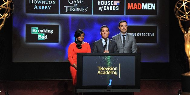 NORTH HOLLYWOOD, CA - JULY 10:  Actress Mindy Kaling, Television Academy Chairman & CEO Bruce Rosenblum and tv personality Ca
