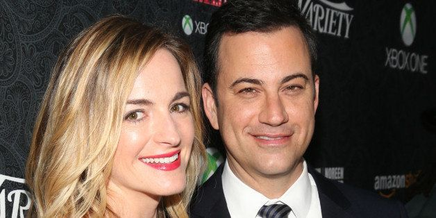 HOLLYWOOD, CA - NOVEMBER 16:  Honoree Jimmy Kimmel (R) and writer Molly McNearney attend Variety's 4th Annual Power of Comedy