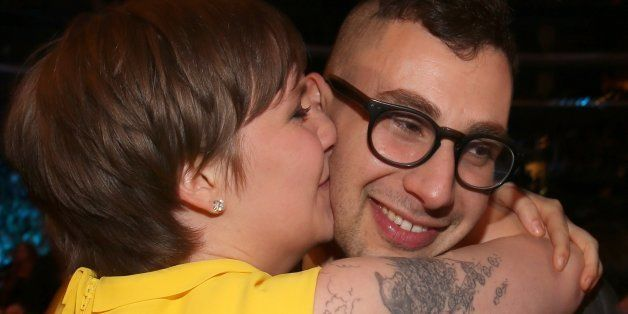 LOS ANGELES, CA - FEBRUARY 10:  Actress Lena Dunham (L) and guitarist Jack Antonoff of fun. attend the 55th Annual GRAMMY Awa