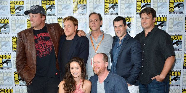 SAN DIEGO, CA - JULY 13:  The Cast of Firefly (Standing L-R) Adam Baldwin, Alan Tudyk Tim Minear. Sean Maher, Nathan Fillion,