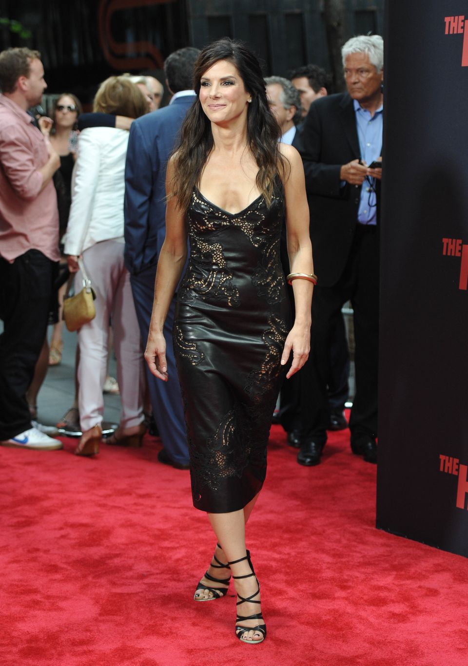 "Actress Sandra Bullock attends ""The Heat"" premiere at the Ziegfeld Theatre on Sunday, June 23, 2013 in New York."