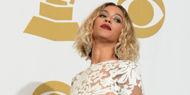 Singer Beyonce Knowles poses in the press room during the 56th Grammy Awards at the Staples Center in Los Angeles on January