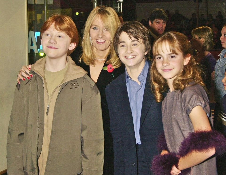 Writer J K Rowling with actors, Daniel Radcliffe, Rupert Grint and Emma Watson at the UK Film Premiere of 'Harry Potter And