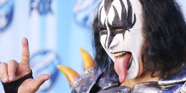 LOS ANGELES, CA - MAY 21:  Gene Simmons of KISS arrives at Fox's 'American Idol' XIII Finale held at Nokia Theatre L.A. Live
