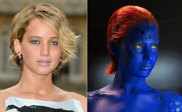 "JLaw goes blue for her role as Raven aka Mystique in the ""X-Men"" movies."