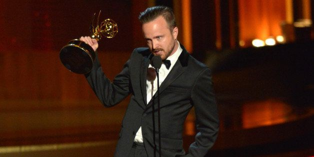 LOS ANGELES, CA - AUGUST 25:  Actor Aaron Paul speaks onstage at the 66th Annual Primetime Emmy Awards held at Nokia Theatre