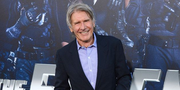 """Harrison Ford arrives at the premiere of """"The Expendables 3"""" at TCL Chinese Theatre on Monday, Aug. 11, 2014, in Los Angeles."""