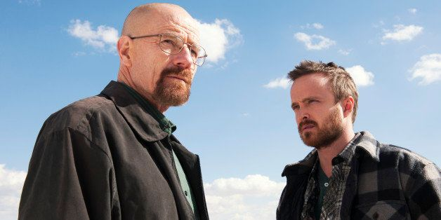 "This image released by AMC shows Bryan Cranston as Walter White, left, and Aaron Paul as Jesse Pinkman in a scene from ""Break"