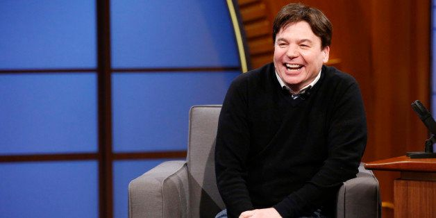 LATE NIGHT WITH SETH MEYERS -- Episode 0063 -- Pictured: Comedian Mike Myers during an interview on June 18, 2014 -- (Photo b