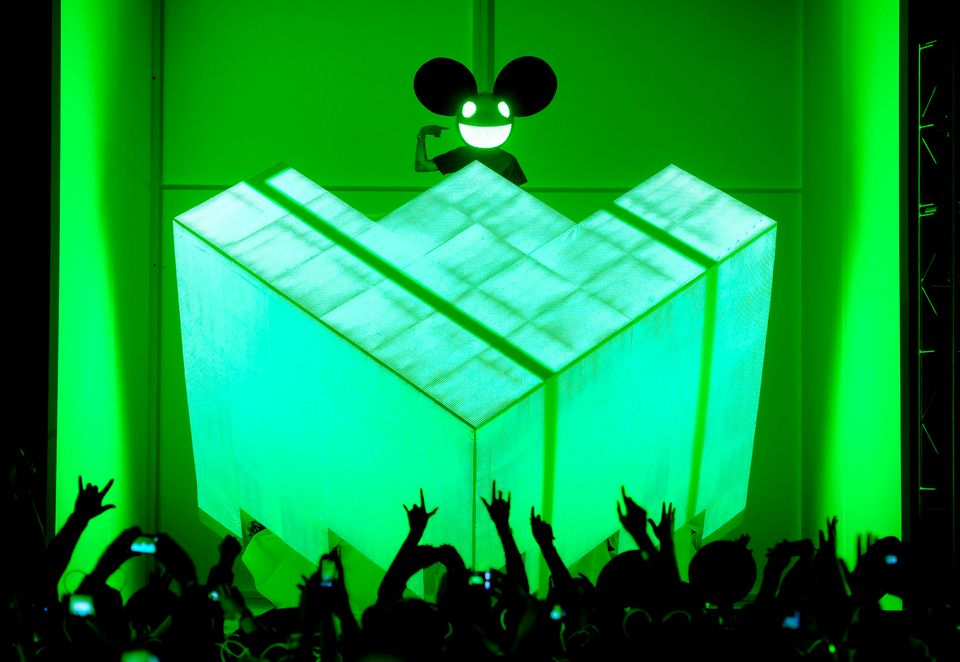 Deadmau5 performs at the 54th annual Grammy Awards on Sunday, Feb. 12, 2012 in Los Angeles. (AP Photo/Chris Pizzello)