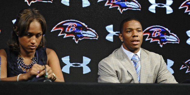 Ravens running back Ray Rice, right, and his wife Janay made statements to the news media May 5, 2014, at the Under Armour Pe
