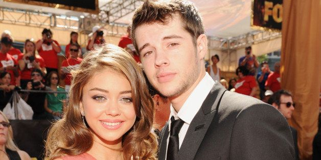LOS ANGELES, CA - SEPTEMBER 18: Sarah Hyland (L) and Matt Prokop arrive at the Academy of Television Arts & Sciences 63rd