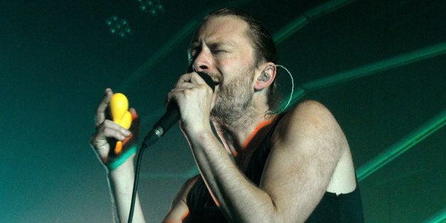 LONDON, ENGLAND - JULY 25:  Thom Yorke of Atoms For Peace performs on stage at The Roundhouse on July 25, 2013 in London, Eng