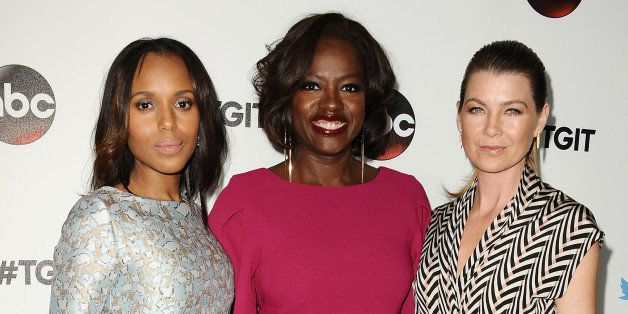 WEST HOLLYWOOD, CA - SEPTEMBER 20:  (L-R) Actresses Kerry Washington, Viola Davis and Ellen Pompeo attend the #TGIT premiere