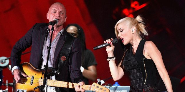 NEW YORK, NY - SEPTEMBER 27:  Sting (L) and Gwen Stefani of No Doubt perform onstage at the 2014 Global Citizen Festival to e