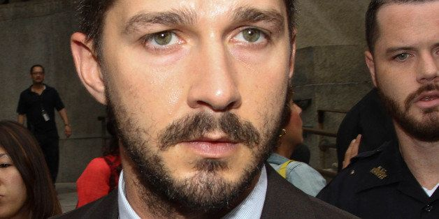 NEW YORK, NY - JULY 24:  Shia LaBeouf leaves criminal court on July 24, 2014 in New York City.  (Photo by Rob Kim/Getty Image