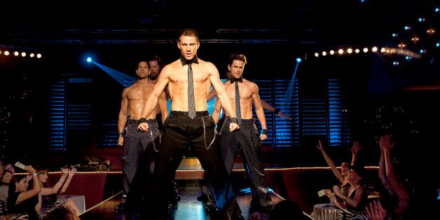 This film image released by Warner Bros. shows, from left, Adam Rodriguez, Kevin Nash, Channing Tatum, and Matt Bomer in a sc
