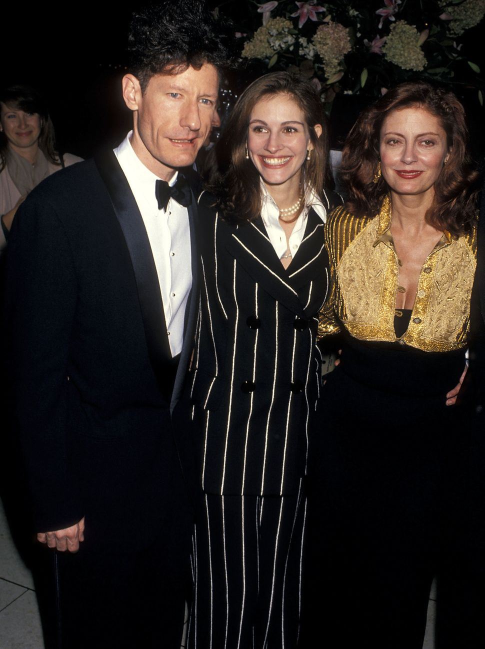 Singer Lyle Lovett, actress Julia Roberts and actress Susan Sarandon attend the 31st Annual New York Film Festival Opening Ni