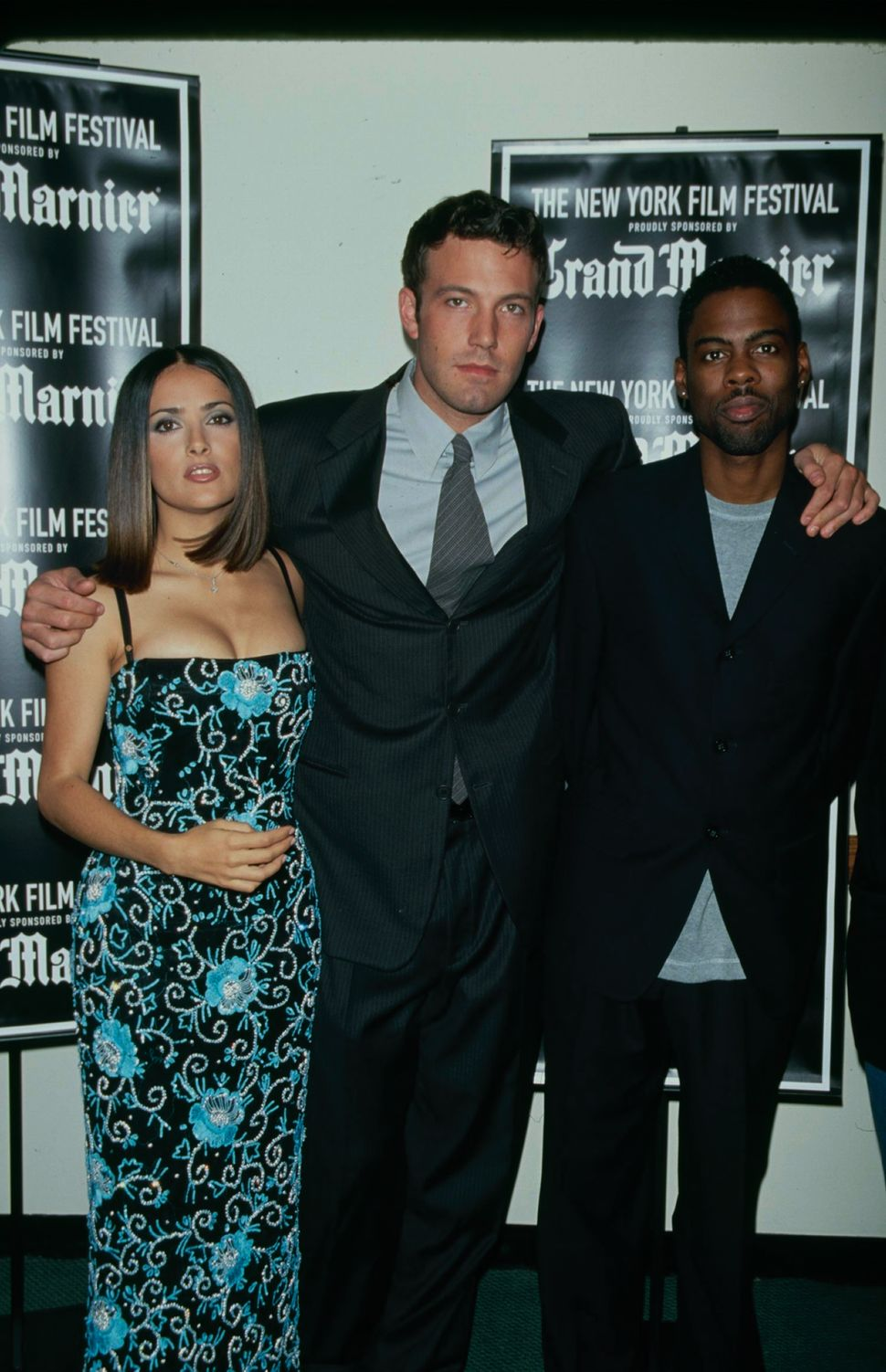 1999: Actors Salma Hayek, Ben Affleck and Chris Rock promote the film 'Dogma' at the New York Film Festival. (Photo by The LI