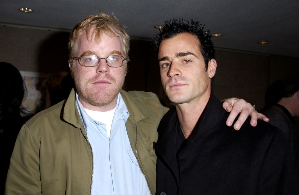Philip Seymour Hoffman and Justin Theroux during NY Film Festival Sponsored by Grand Marnier - Mulholland Drive Premiere at A