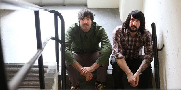 TORONTO, ON -  JULY 29:   Jesse Keeler(right) and Sebastien Grainger of Death From Above 1979, who've become very big since b