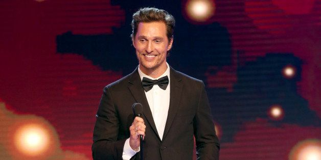 """Matthew McConaughey accepts the award for best actor in a drama series for """"True Detective"""" at the Critics' Choice Televi"""