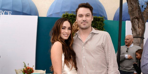 """Megan Fox, left, and Brian Austin Green attend the Los Angeles premiere of """"Teenage Mutant Ninja Turtles"""" after party at the"""