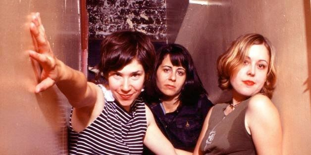 Portrait of Sleater-Kinney (L-R) Carrie Brownstein, Janet Weiss, Corin Tucker, backstage at The Fillmore in San Francisco, Ca