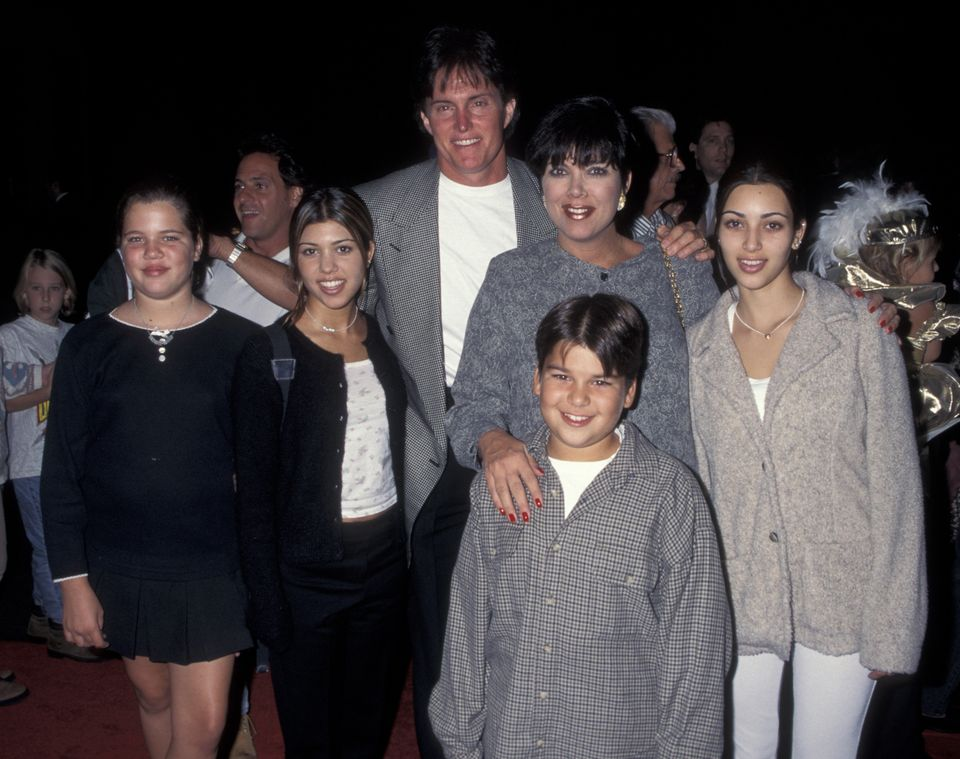 Khloe Kardashian, Kourtney Kardashian, Bruce Jenner, Kris Kardashian, Robert Kardashian and Kim Kardashian (Photo by Ron Gale