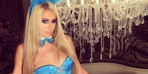 paris hilton dressed up as a sexy bunny for halloween seems to be low on ideas this year