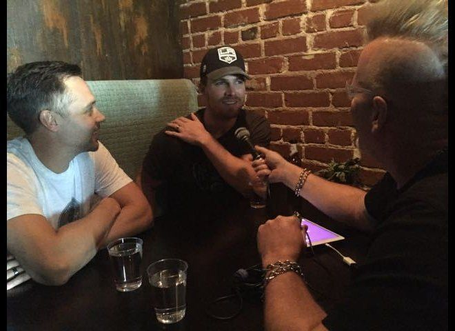 Andrew Harding (l), Stephen Amell and Karel at Vitello's for Nockingpoint Wines release party.