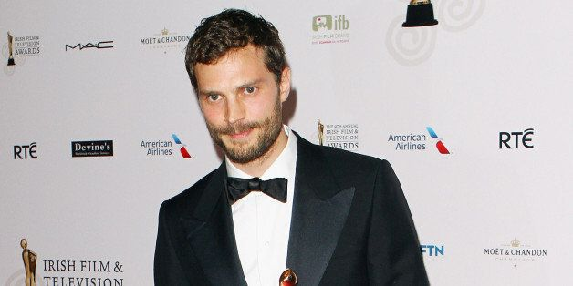 DUBLIN, IRELAND - APRIL 05:  Jamie Dornan wins the Actor in a Lead Role in Television award at the Irish Film And Television
