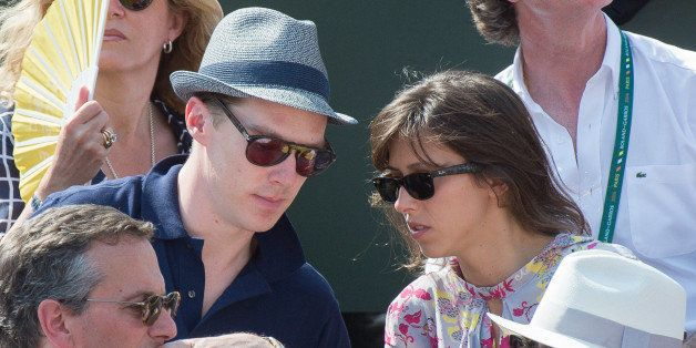 PARIS, FRANCE - JUNE 08:  Actor Benedict Cumberbatch and his companion attend the Men's Final of Roland Garros French Tennis