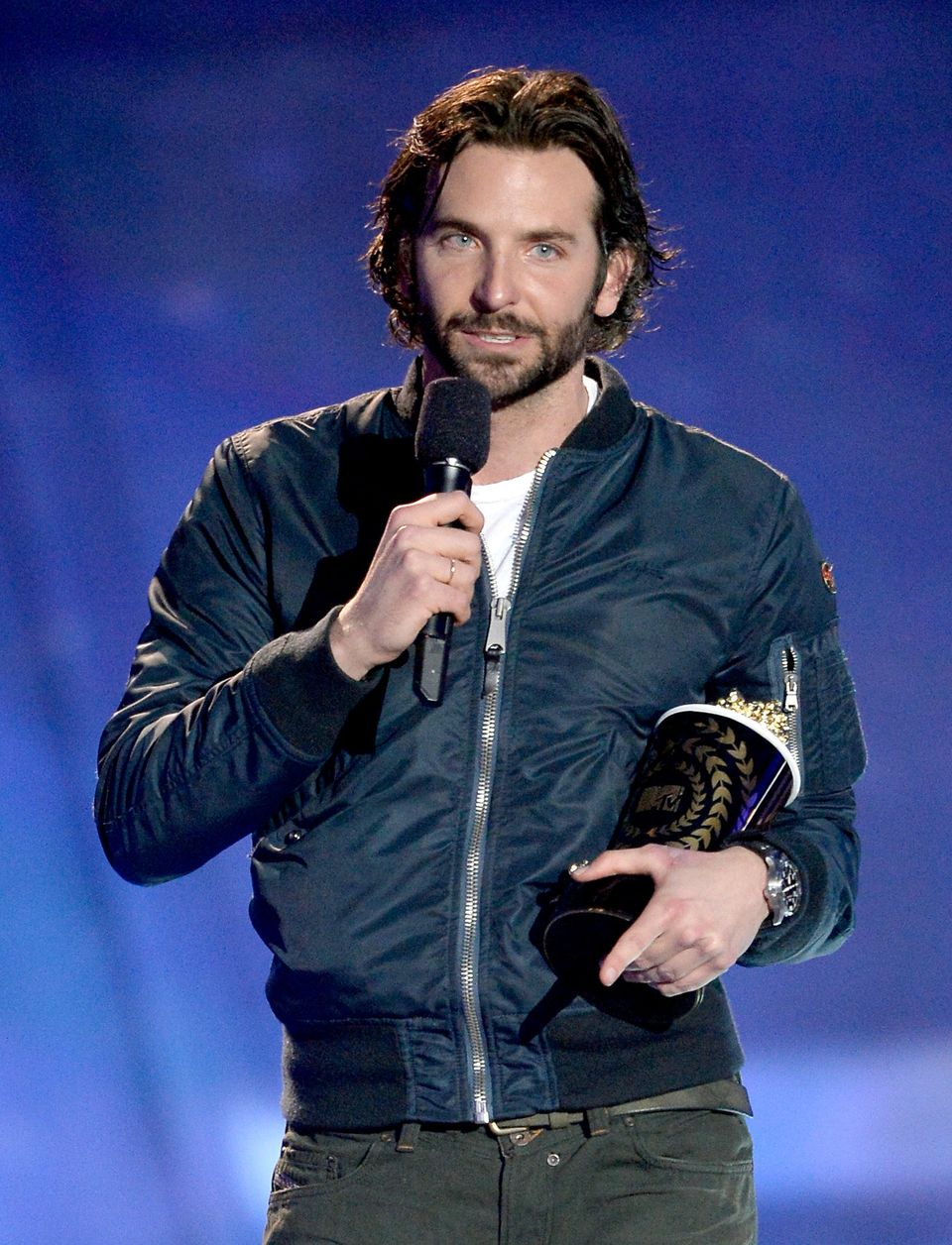 CULVER CITY, CA - APRIL 14:  Actor Bradley Cooper accepts Best Male Performance award for 'Silver Linings Playbook' onstage d