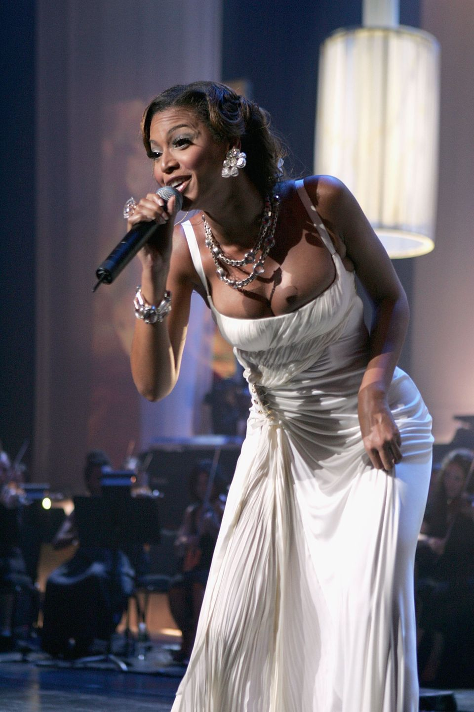 Singer Beyonce Knowles performs at a concert to celebrate the 10th anniversary of Jay-Z's first album, 'Reasonable Doubt' at