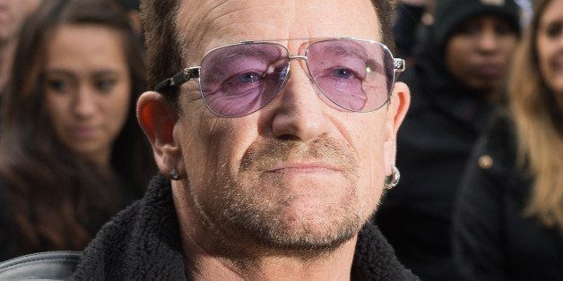 LONDON, ENGLAND - NOVEMBER 15:  Bono attends to record the Band Aid 30 single on November 15, 2014 in London, England.  (Phot